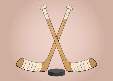 icehockey: Crossed Ice hockey sticks with puck illustration