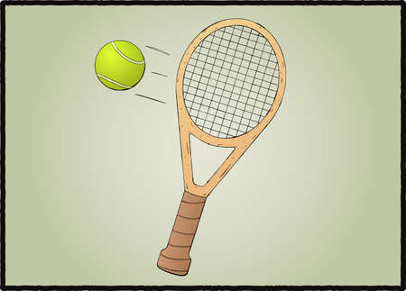 Stylized tennis racket with ball illustration