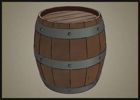wood staves: Wooden barrel with iron rings stylized illustration
