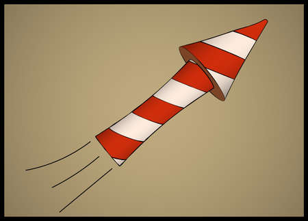 pyro: Single white striped flying firework or petard Illustration