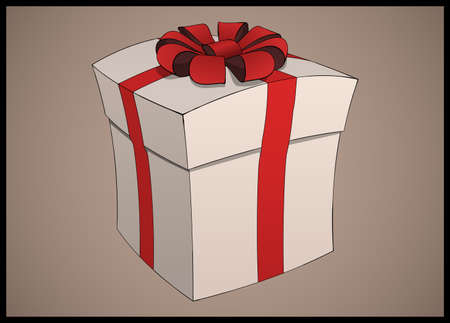 closed ribbon: stylized closed gift box with red stripes and a ribbon