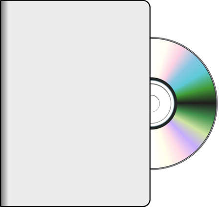 Empty DVD cover with realistic disk on white background
