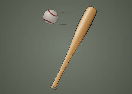 Baseball bat with ball stylized illustration