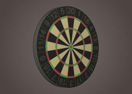 Stylized darts board illustration in perspective Illustration