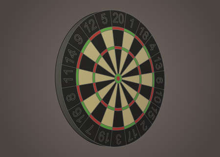 holed: Stylized darts board illustration in perspective Illustration