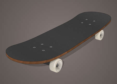 Stylized black wooden skateboard with white wheels