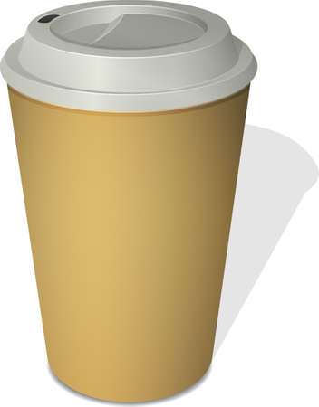 take out food container: Paper coffee cup with a cap top-down view