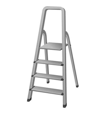 Isolated metal step ladder realistic illustration
