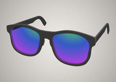 Isolated black sunglasses with a colored glass illustration