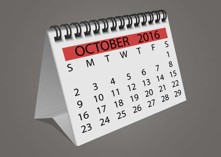 turn of the year: Isolated October 2016 desktop calendar with turning pages vector illustration