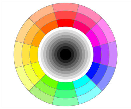 three shades of hue color wheel vector illustration