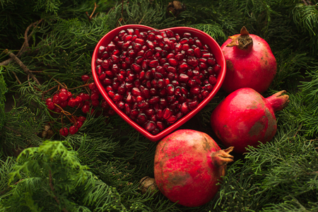 Bowl with purified pomegranate for making juice, healthy meal, ingredient for cooking with green fir branches as a background. Fruit vitamins for healthy life.