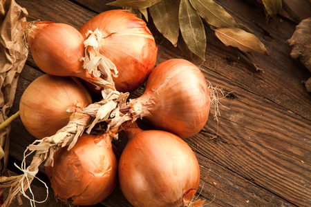 Raw onion prepared for cooking healthy meal with vegetables for vegetarians with spices. Background with free space for write recipe text.