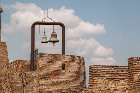 Church bell on tower with blue sky. Stockfoto