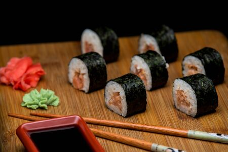 Traditional japanese sushi with fresh salmon.