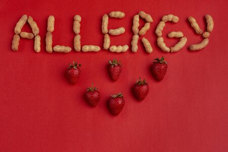 Word allergy signed with nuts on red background. Strawberry allergy concept. Stockfoto
