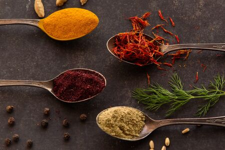 Traditional spice from different country as Georgia, India and Iran. Healthy organic spices for cooking.