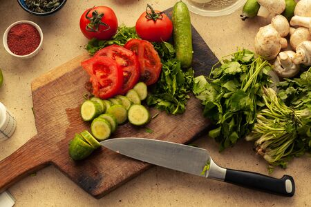 Sliced vegetables prepared for cooking vegetarian meal. Full of vitamins food for healthy lifestyle. Stockfoto