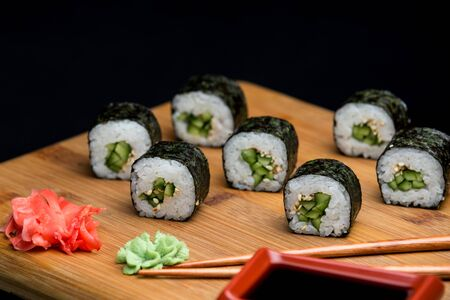 Kappa maki, sushi set prepared for menu photo. Healthy japanese food with low calories.
