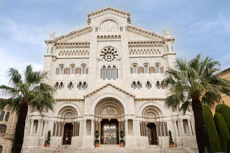 Saint Nicholas cathedral with blue sky in Monaco town. Princess Grace marriage ceremony place.