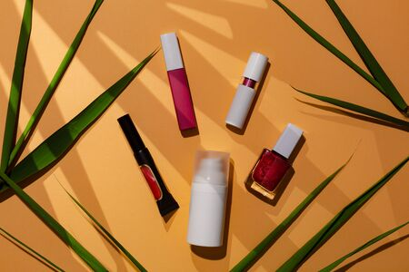 Cosmetics set for traveller on summer trip, advice from blogger which brand to use. Decorative cosmetic for healthy skin.
