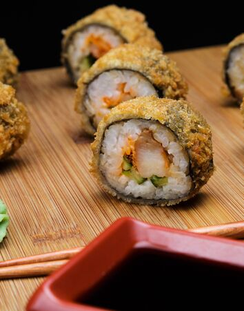 Hot fried Sushi Roll with shrimp and caviar.
