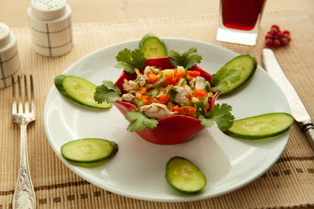 Low calories salad with vegetables and lemon juice, with olive oil. Healthy eating concept, appetizer with organic product. Reklamní fotografie