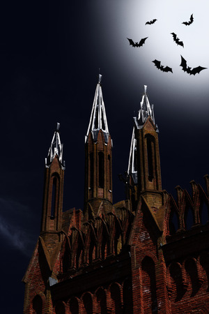 Halloween. The bats flying above of the castle on a broom by a moonlight night photo