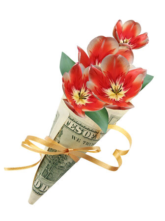 felicitation: Sack from one hundred dollars with flowers Stock Photo