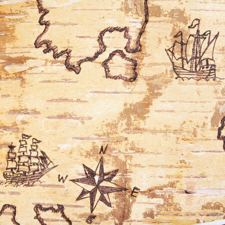 pastiche: The sea chart with ships on the order of olden time on birchbark