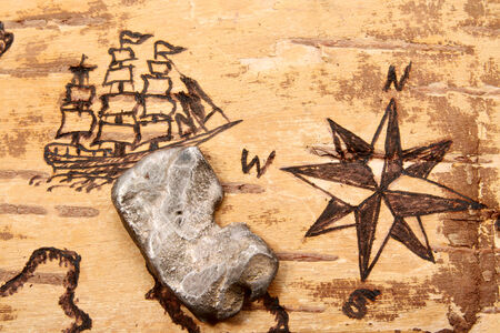 battered land: The sea chart on the order of olden time on birchbark and bullion Stock Photo