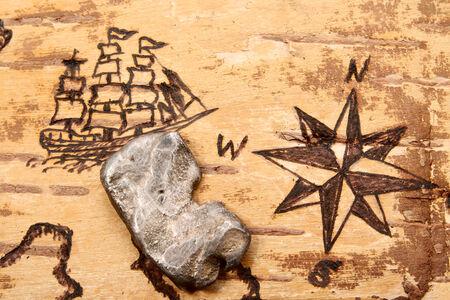 disrepair: The sea chart on the order of olden time on birchbark and bullion Stock Photo