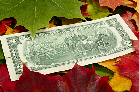 Two dollars with the image of signing of the declaration of independence among autumn leaves photo
