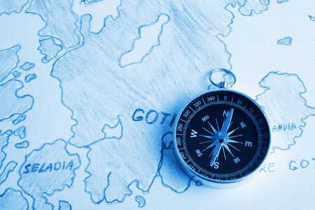 disrepair: Old chart of North Europe and compass Stock Photo