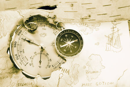 navigating: Compass, barometer and old navigating chart of North Europe