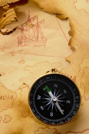 Vintage map. Myth about Bermuda Triangle and Flying Dutchman Standard-Bild