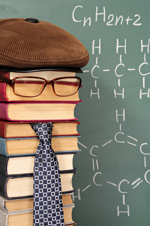 parody: Unusual parody joke, chemist before chalk board with formula of hydrocarbons Stock Photo