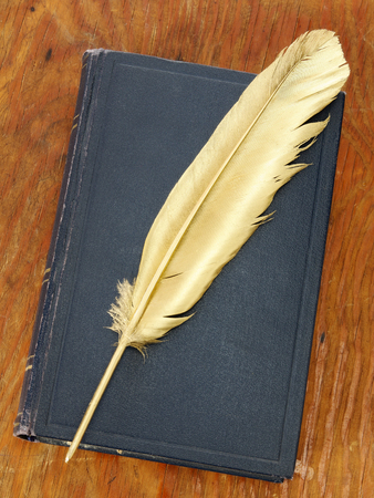 Gold quill pen and dark blue book on grunge wood board