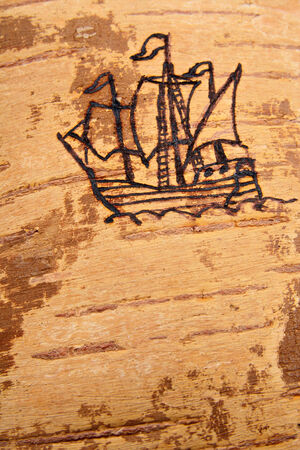 disrepair: Picture of ancient sailing ship on a birch bark