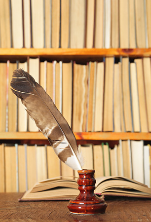 inkstand: Quill in inkstand on a background of books Stock Photo