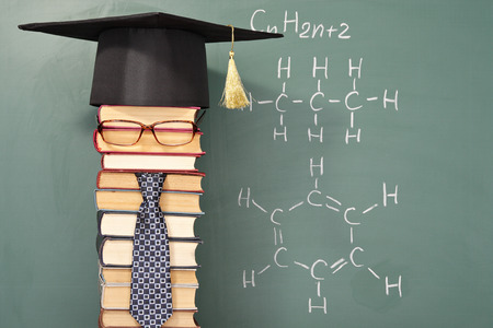 parody: Unusual parody joke, student before chalk board with formula of hydrocarbons