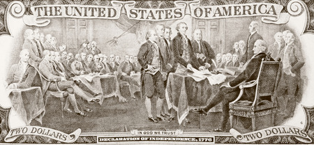 declaration: Picture of signing Declaration of independence in two dollars