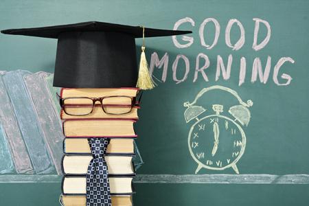 Goedemorgen! Ongebruikelijke onderwijs concept. Stockfoto