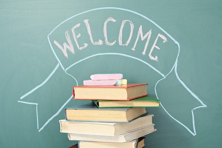writing book: Education unusual concept. Welcome to the world of knowledge. Stock Photo