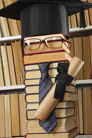 master volume: Science concept. Forged student from books in library Stock Photo