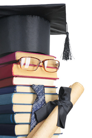 Abstract representation of the student: books, eyeglasses, mortarboard