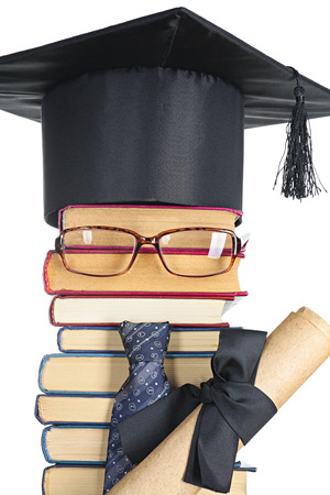 master volume: Abstract representation of the intellectual: books, eyeglasses, mortarboard