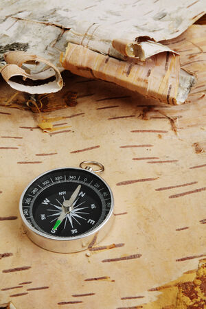 bark: Compass on background from birchen cork Stock Photo