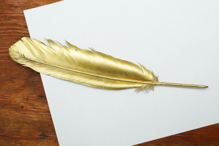 Gold quill pen on a white paper and wooden table photo