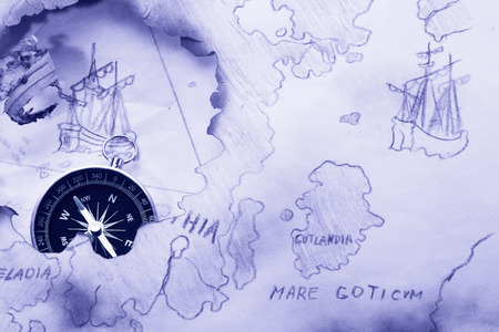 Concept. Myth about Bermuda Triangle and Flying Dutchman Standard-Bild